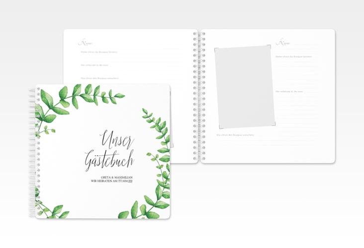 """Gästebuch Hochzeit """"Botanic"""" Ringbindung weiss"""