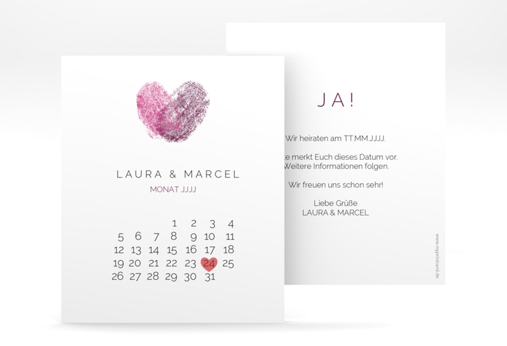 "Save the Date-Kalenderblatt ""Fingerprint"" Kalenderblatt-Karte pink"