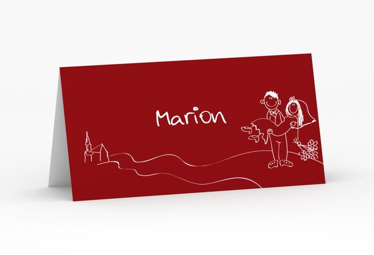 """Tischkarte Hochzeit """"Pisa"""" Tischkarten rot"""