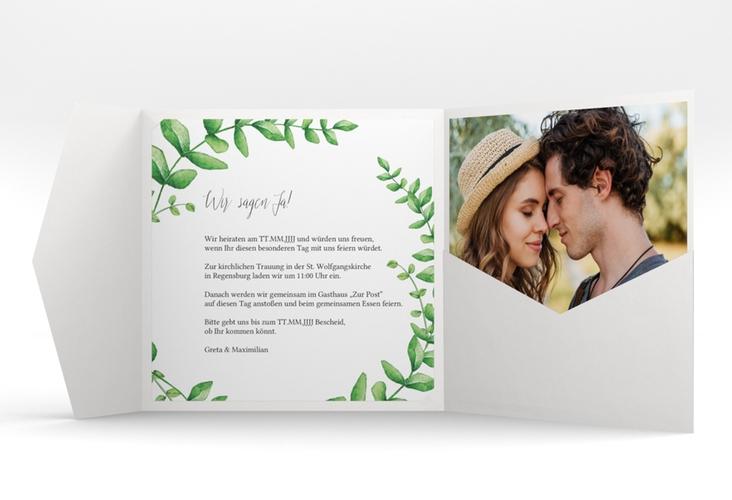 """Hochzeitseinladung """"Botanic"""" Pocketfold weiss"""