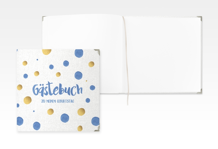 "Gästebuch Selection Geburtstag ""Dots"" Leinen-Hardcover blau"