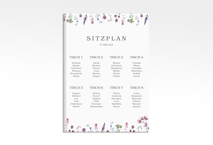 """Sitzplan Leinwand Hochzeit """"Wildblumen"""" 50 x 70 cm Leinwand weiss"""