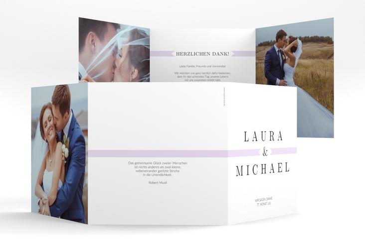 """Dankeskarte Hochzeit """"Tender"""" Quadr. Karte doppelt flieder"""