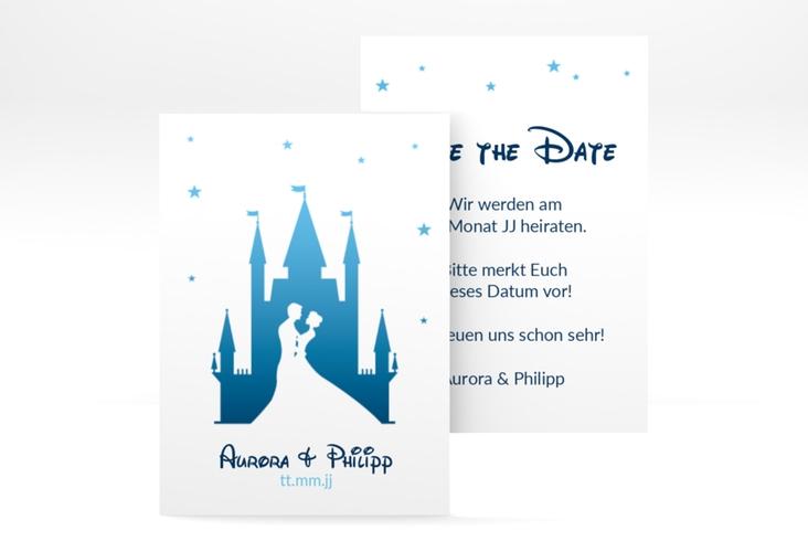 "Save the Date-Visitenkarte ""Castle"" Visitenkarte blau"