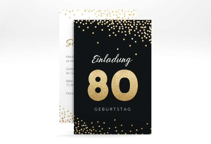 """Einladungskarte """"Glitzer"""" A6 hoch gold"""