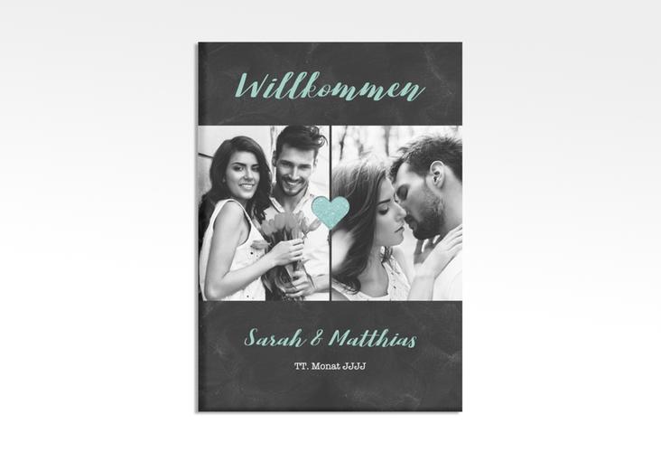 """Willkommensschild Hochzeit """"Sparkly"""" 50 x 70 cm Leinwand tuerkis"""