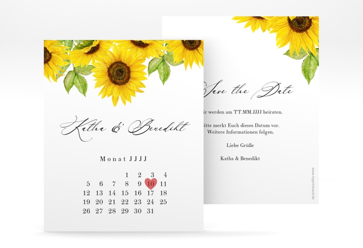 "Save the Date-Kalenderblatt ""Sonnenblume"" Kalenderblatt-Karte"