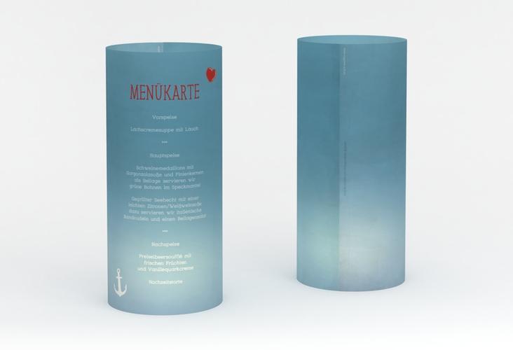"""Windlicht Menü Hochzeit """"Ehehafen"""" Windlicht blau"""