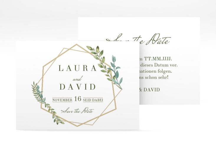 "Save the Date-Visitenkarte ""Herbarium"" Visitenkarte gold"