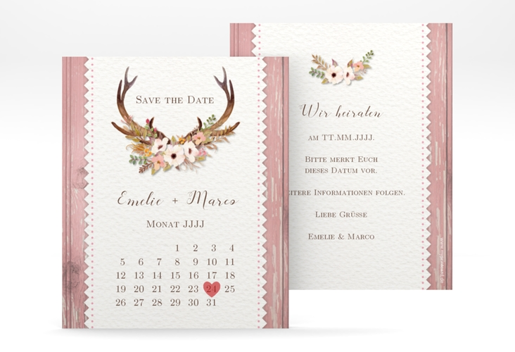"""Save the Date-Kalenderblatt """"Heimatjuwel"""" Kalenderblatt-Karte rosa"""