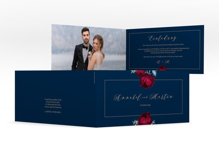"Hochzeitseinladung ""Peonies"" DIN lang Klappkarte blau"