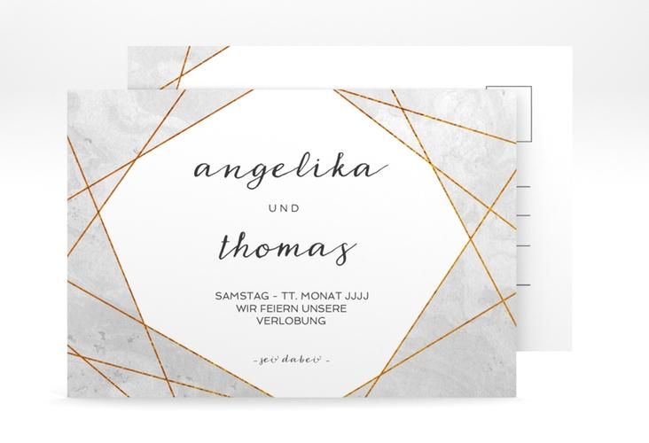 """Verlobungskarte  """"Asymmetry"""" A6 Postkarte"""