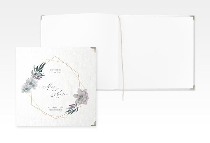 "Gästebuch Selection Hochzeit ""Terrarium"" Leinen-Hardcover weiss"