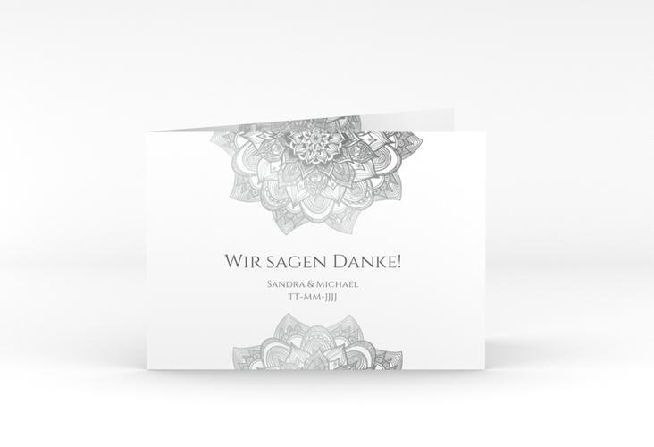 "Danksagungskarte Hochzeit ""Delight"" A6 Klappkarte Quer grau"