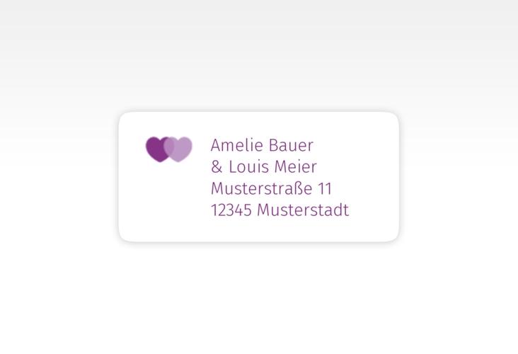 """Absenderetikett Hochzeit """"Couple"""" 45,7 x 21,2 mm lila"""