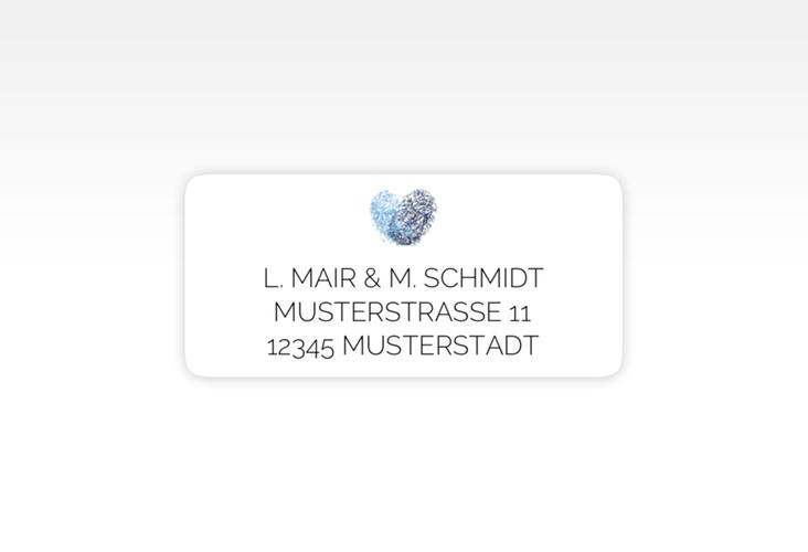 """Absenderetikett Hochzeit """"Fingerprint"""" 45,7 x 21,2 mm blau"""