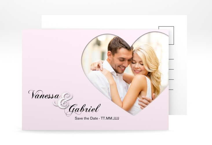 "Save the Date-Postkarte ""Sweetheart"" A6 Postkarte rosa"