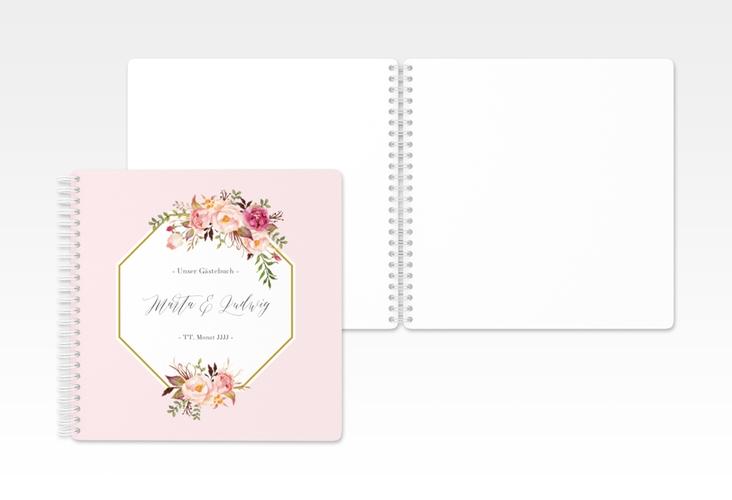 "Gästebuch Hochzeit ""Prachtvoll"" Ringbindung rosa"