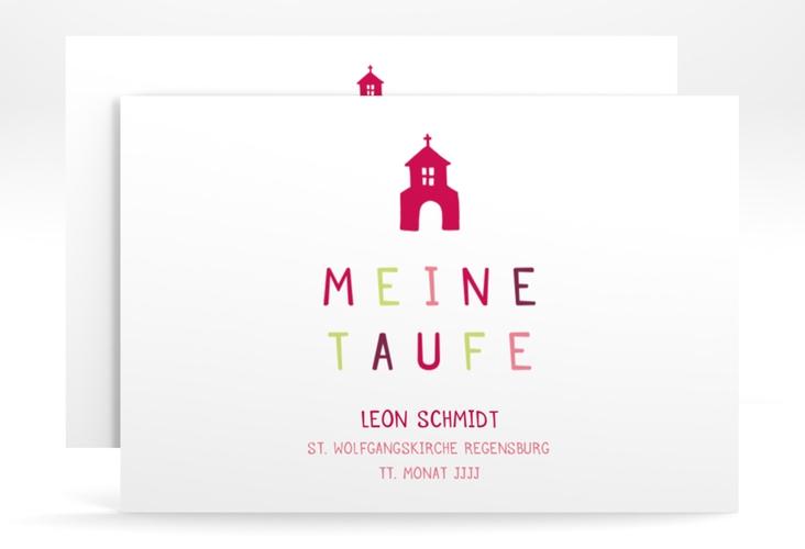 "Taufeinladung ""Chapel"" A6 quer pink"