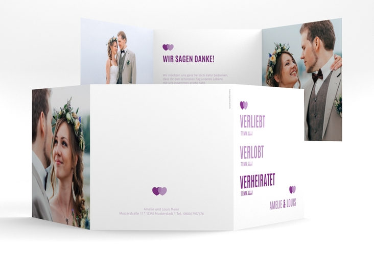 "Dankeskarte Hochzeit ""Couple"" Quadr. Karte doppelt lila"