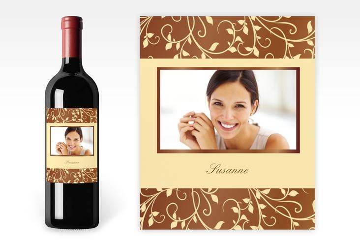 Weinflaschenetikett Ornament Braun-Beige Etikett Weinflasche 4er Set