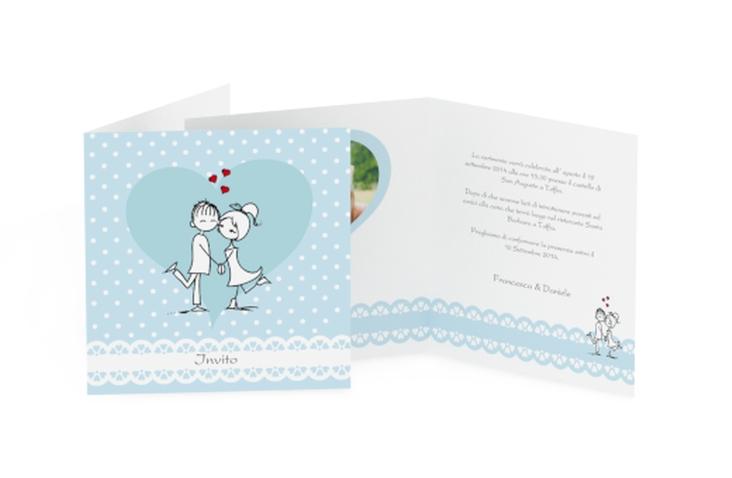 Inviti matrimonio collezione Berlino Quadratische Klappkarte blu