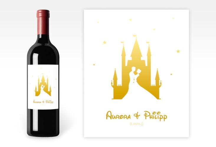 """Weinflaschenetikett Hochzeit """"Castle"""" Etikett Weinflasche 4er Set gold"""