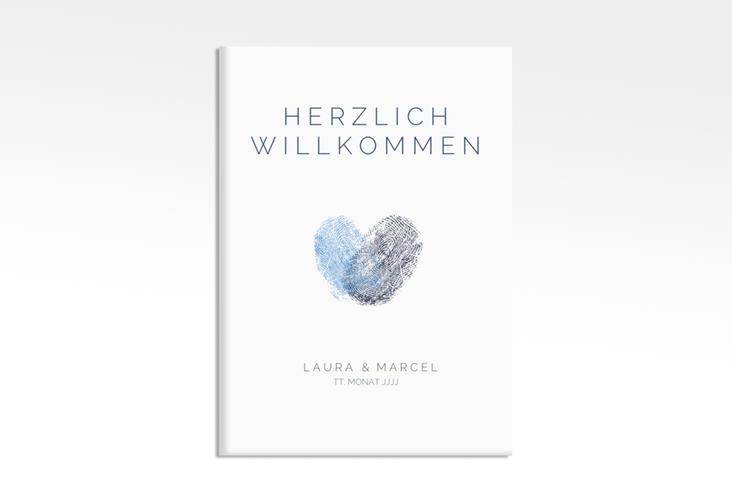 "Willkommensschild Leinwand ""Fingerprint"" 50 x 70 cm Leinwand blau"