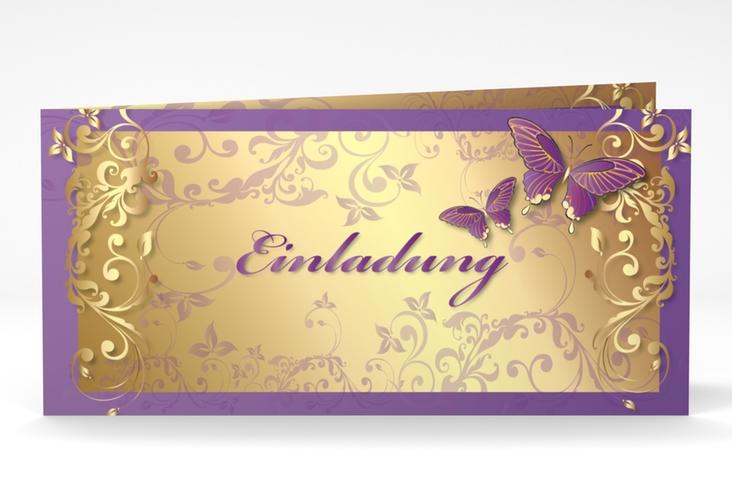 "Hochzeitseinladung ""Toulouse"" DIN lang Klappkarte lila"