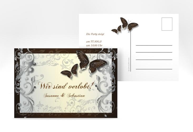 "Verlobungskarte Hochzeit ""Toulouse"" A6 Postkarte braun"