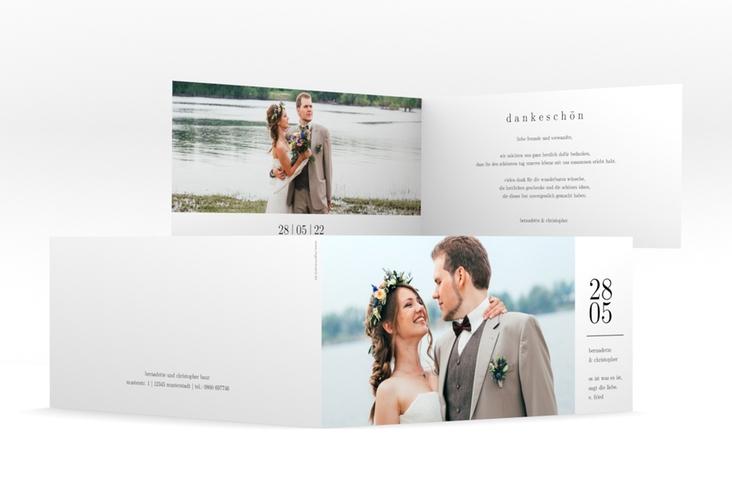 """Dankeskarte Hochzeit """"Minimal"""" DIN lang Klappkarte weiss"""
