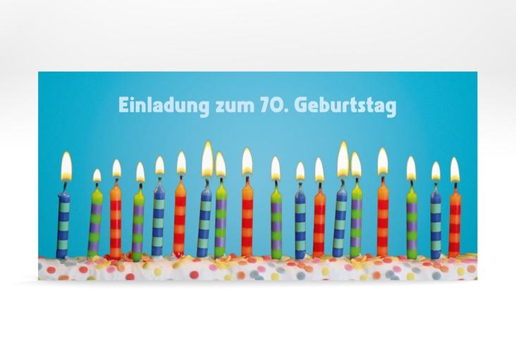 "Einladungskarte ""Candles"" DIN lang tuerkis"