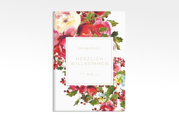 """Willkommensschild Hochzeit """"Blumenpracht"""" 50 x 70 cm Leinwand weiss"""