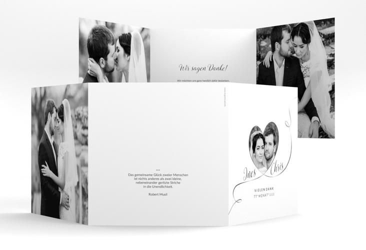 "Dankeskarte Hochzeit ""Dolce"" Quadr. Karte doppelt weiss"