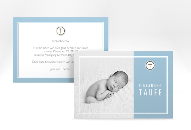 "Einladungskarte Taufe ""Belle"" A6 quer"