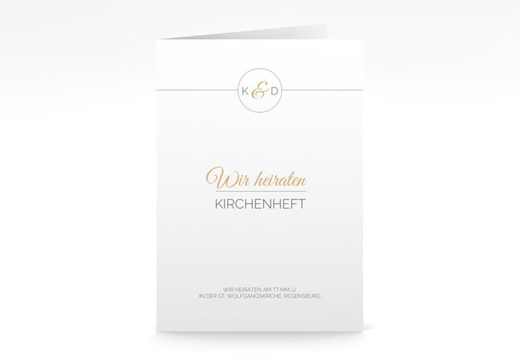 """Kirchenheft Hochzeit """"Unique"""" DIN A5 geklappt gold"""