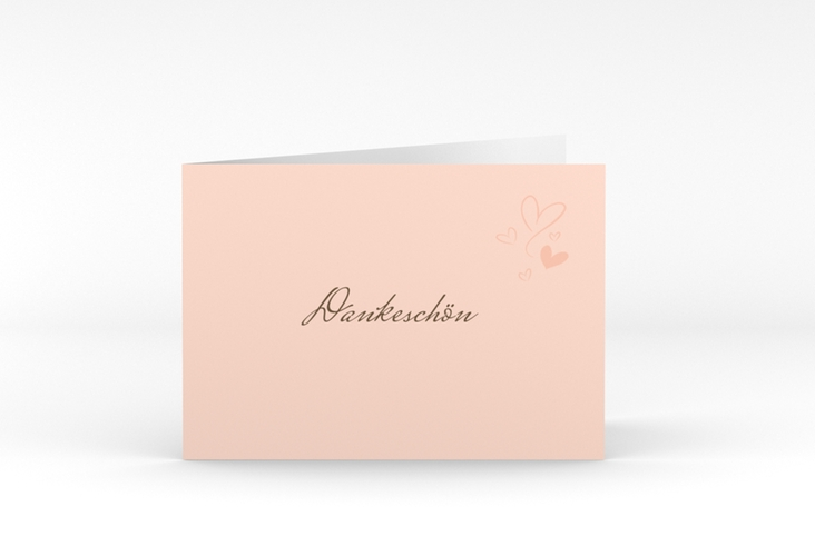"Danksagungskarte Hochzeit ""Purity"" A6 Klappkarte Quer apricot"