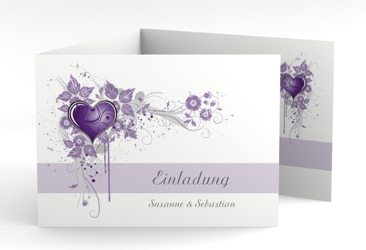 """Hochzeitseinladung """"Triest"""" A6 doppelt geklappt lila"""