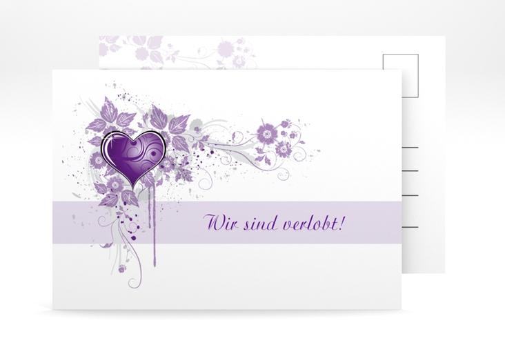 "Verlobungskarte Hochzeit ""Triest"" A6 Postkarte lila"