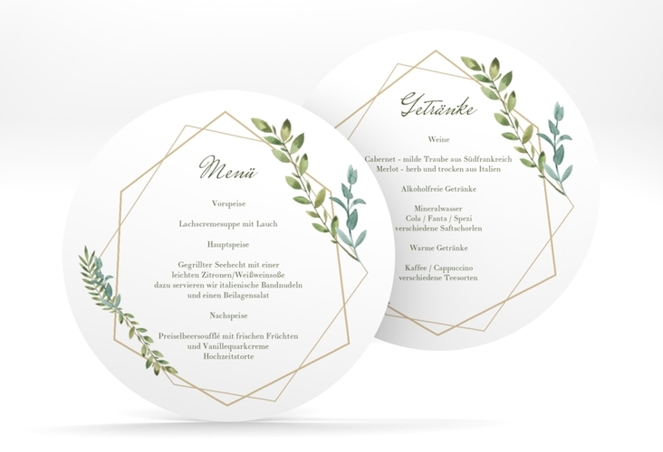 """Menükarte Hochzeit """"Herbarium"""" rund gold"""