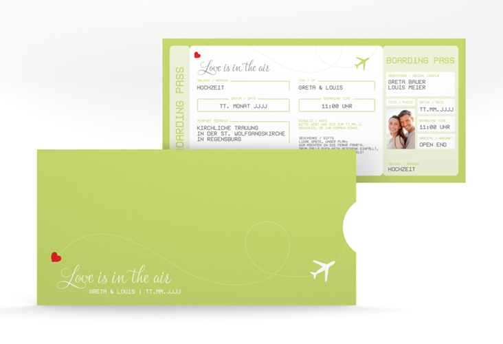 """Hochzeitseinladung """"Weddingpass"""" Einsteckkarte gruen"""