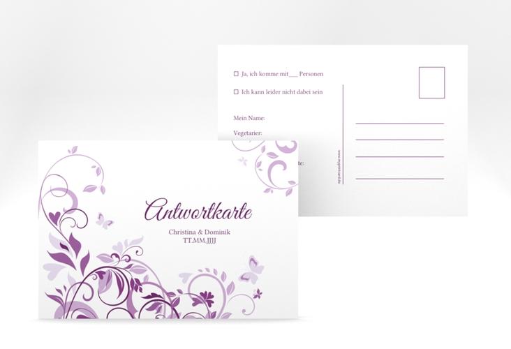"""Antwortkarte Hochzeit """"Lilly"""" A6 Postkarte lila"""