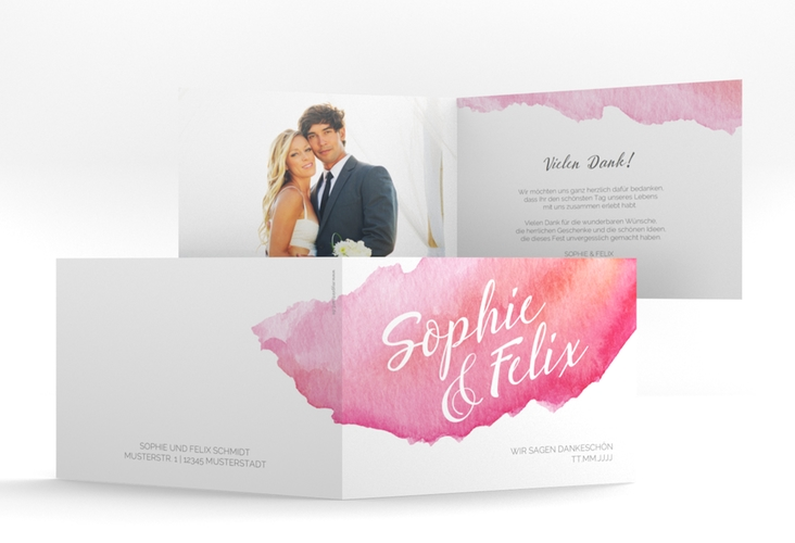 "Danksagungskarte Hochzeit ""Aquarella"" A6 Klappkarte Quer"