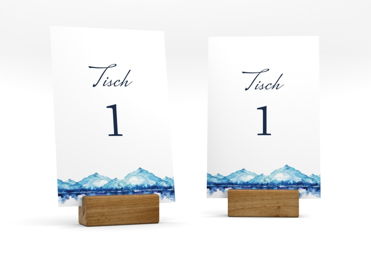 """Tischnummer Hochzeit """"Bergliebe"""" Tischaufsteller blau"""