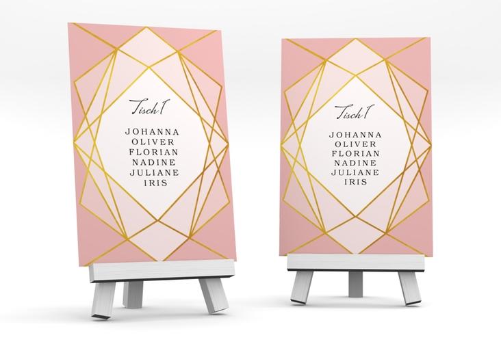 """Tischaufsteller Hochzeit """"Geometric"""" Tischaufsteller rosa"""