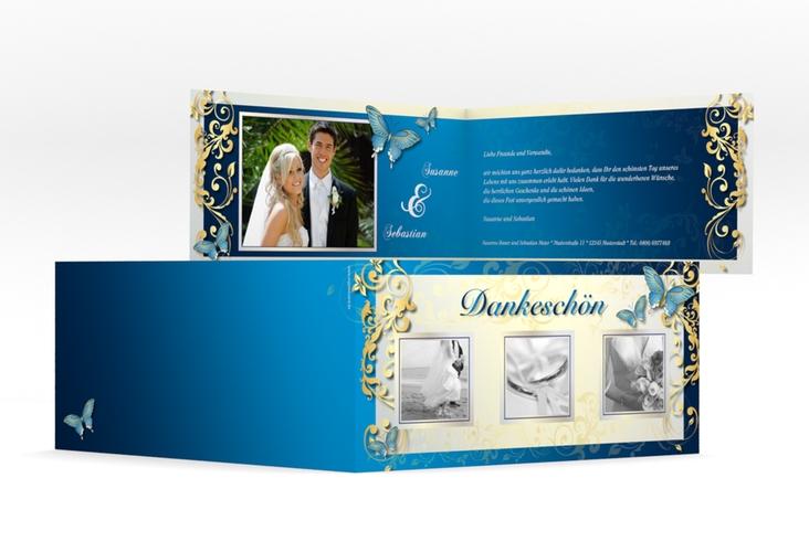 "Dankeskarte Hochzeit ""Toulouse"" DIN lang Klappkarte blau"