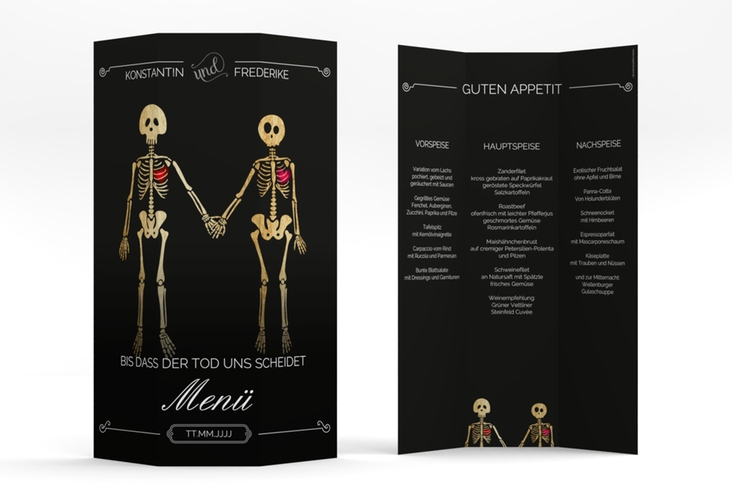 "Menükarte Hochzeit ""Bones"" DIN A4 Wickelfalz schwarz"