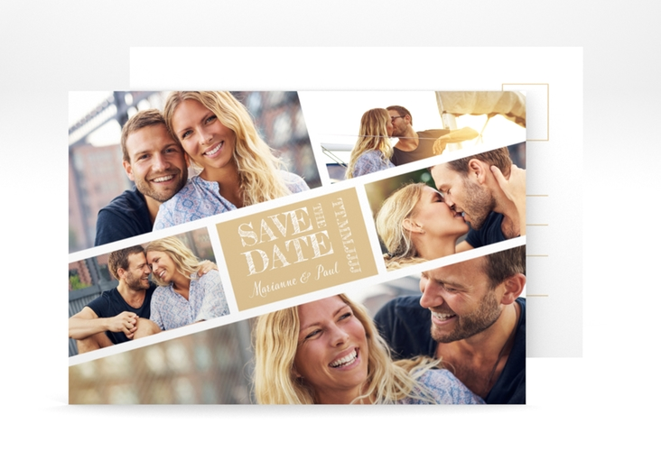 "Save the Date-Postkarte ""Rise"" A6 Postkarte beige"
