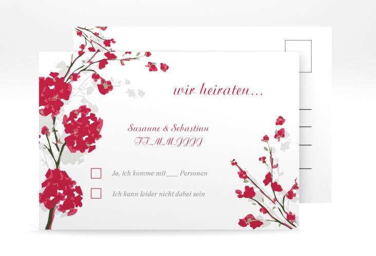 """Antwortkarte Hochzeit """"Salerno"""" A6 Postkarte rot"""