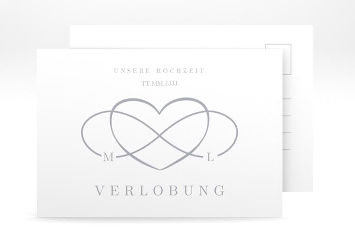 "Verlobungskarte Hochzeit ""Infinity"" A6 Postkarte grau"